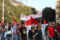 18 ottobre 2014 Miano, contro-marzo Lega Nord Immagine Stock Libera da Diritti