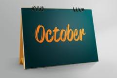 Ottobre scritto in calendario da tavolino illustrazione di stock