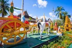 26 ottobre 2018 - Siem raccoglie:: scultura a Wat Preah Prom Rath immagine stock libera da diritti