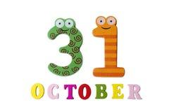 31 ottobre su fondo, sui numeri e sulle lettere bianchi Fotografia Stock