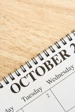 Ottobre sul calendario. Immagine Stock