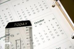 Ottobre sul pianificatore Fotografia Stock