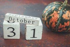 31 ottobre vicino alla zucca Fotografia Stock