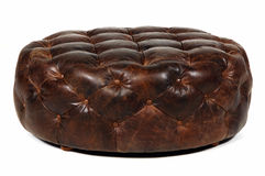 Ottoman. Brown leather ottoman isolated at white background stock images