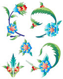 Ottoman art flowers eleven. Versions of Ottoman decorative arts, abstract flowers Stock Photos