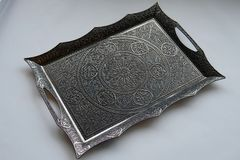 Ottoman brass  tray. Retro oriental Ottoman brass  tray Stock Photos