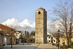 Ottoman clock tower in Podgorica.   Stock Photo