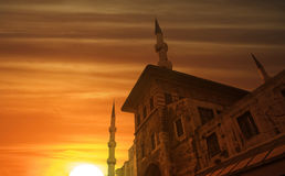 Ottoman dreams. Sunset time viewed an old, historic building. Ottoman and istanbul dreams at down time stock photography
