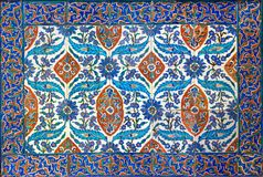 Ottoman era style glazed ceramic tiles from Iznik Turkey decorated with floral ornamentations. From the Museum Of Islamic Art holdings, Cairo, Egypt Stock Image