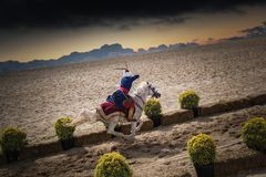 Ottoman horseman archer riding and shooting royalty free stock image