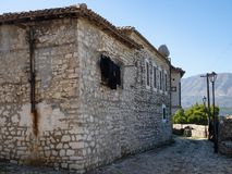 Ottoman House with Laundry on Clothesline in Kala within Berat`s Fortress