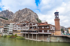 Ottoman Houses and Clock Tower in Amasya Stock Images