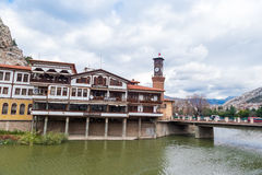Ottoman Houses and Clock Tower in Amasya Royalty Free Stock Image