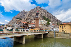 Ottoman Houses and Clock Tower in Amasya Stock Photo