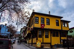 Ottoman houses street view in the city of Afyon. Ottoman small and famous houses in the street of city of Afyon picture taken on 5. Jnuary 2018 stock image