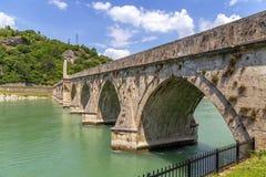 Ottoman Mehmed Pasha Sokolovic stone bridge at river Drina. Visegrad, Bosnia and Herzegovina royalty free stock photography