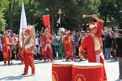 Ottoman Military Music. ISTANBUL, TURKEY-MAY 29: Traditional Ottoman army band or janissary band performed a show during the celebratory events in Sultanahmet Royalty Free Stock Photography