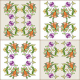 Ottoman motifs design series eighty four. Versions of Ottoman decorative arts, abstract flowers stock illustration
