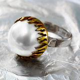 Ottoman pearl vintage ring Royalty Free Stock Image