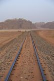 Ottoman railroad in Wadi Rum desert Royalty Free Stock Photography