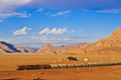 Ottoman train in Wadi Rum desert. Locomotive train in Wadi Rum desert Royalty Free Stock Image