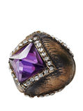 Ottoman ring. Ottoman style bronze ring with purple semi-precious stone royalty free stock photos