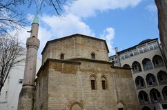 Ottoman style Bajrakli Muslim mosque with minaret Belgrade Serbia Royalty Free Stock Photos