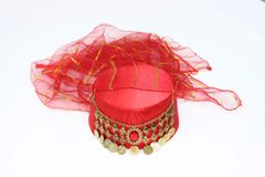 Ottoman style fez for womens. Women`s turkish hat royalty free stock photography