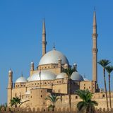 Ottoman style Great Mosque of Muhammad Ali Pasha, Citadel of Cairo, one of the landmarks of Cairo, Egypt royalty free stock images