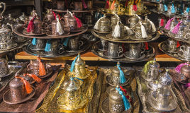 Ottoman style Turkish coffee cups  for sale in market Royalty Free Stock Images