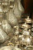 Ottoman tea set and bottles. Ottoman tea set between silver ottoman bottles and objects Royalty Free Stock Photography