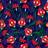 Ottoman tulip carnation seamless pattern Stock Photo