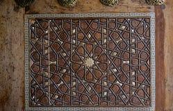 Ottoman Turkish art with geometric patterns. On wood stock photos