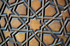 Ottoman Turkish  art with geometric patterns. On wood Stock Images