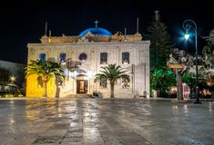 The Ottoman Vezir Mosque, that nowadays became the basilica of St Titus in the evening lights, Heraklion, Crete. Greece stock images