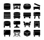 Ottomanes & Poeven Accentkrukken en stoelen Verschillende soorten c stock illustratie