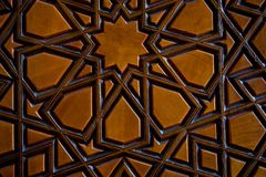 Ottomankonst med geometriska modeller på trä Royaltyfri Foto