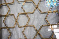 Ottomankonst med geometriska modeller p? tr? royaltyfri bild