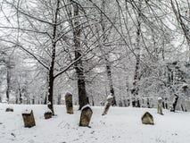 Ottomantumbstones under snön Fotografering för Bildbyråer