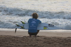 Otton concentrated before the competition. In the Rip Curl Pro event in Peniche - Portugal Stock Images
