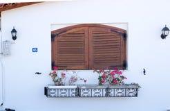 Otturatore e fiori della finestra fotografie stock libere da diritti