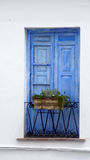 Otturatori di legno blu Fotografie Stock