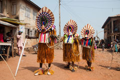 Age Grades festival in Nigeria. People dressed up and celebrating at the Age Grades ceremony or festival in Otuo, Nigeria, Africa Stock Image