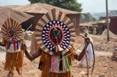 Masquerade in Nigeria. Otuo Age Grades Festival - Otuo is made up of 12 quarters namely : Amoya,Ohigba,Oluma,Amoho,Olila,Orake,Obo,Uree,Imafen,Iyeu,Iziokhai Royalty Free Stock Photos