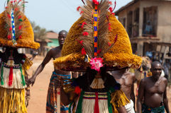 Masquerade in Nigeria. Otuo Age Grades Festival - Otuo is made up of 12 quarters namely : Amoya,Ohigba,Oluma,Amoho,Olila,Orake,Obo,Uree,Imafen,Iyeu,Iziokhai Stock Photos