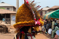 Masquerade in Nigeria. People dressed up and celebrating at the Age Grades ceremony or festival in Otuo, Nigeria, Africa royalty free stock photos