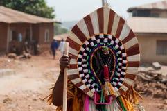 Masquerade in Nigeria. Otuo Age Grades Festival - Otuo is made up of 12 quarters namely : Amoya,Ohigba,Oluma,Amoho,Olila,Orake,Obo,Uree,Imafen,Iyeu,Iziokhai Stock Images