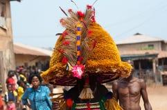 Masquerade in Nigeria. Otuo Age Grades Festival - Otuo is made up of 12 quarters namely : Amoya,Ohigba,Oluma,Amoho,Olila,Orake,Obo,Uree,Imafen,Iyeu,Iziokhai Stock Photography