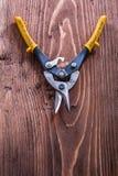 Otwarci metali nippers na rocznika drewna desce Obraz Royalty Free