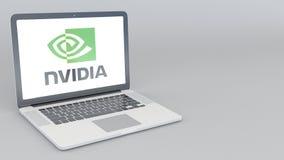 Otwarcia i przymknięcia laptop z Nvidia logem 4K 3D redakcyjny rendering Obraz Royalty Free